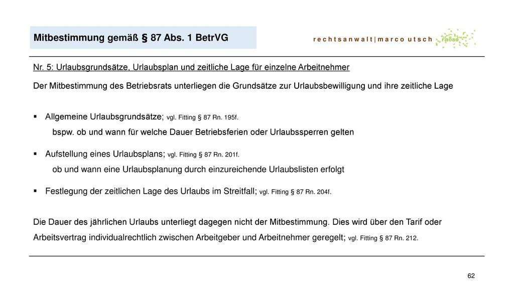Mitbestimmung gemäß § 87 Abs. 1 BetrVG