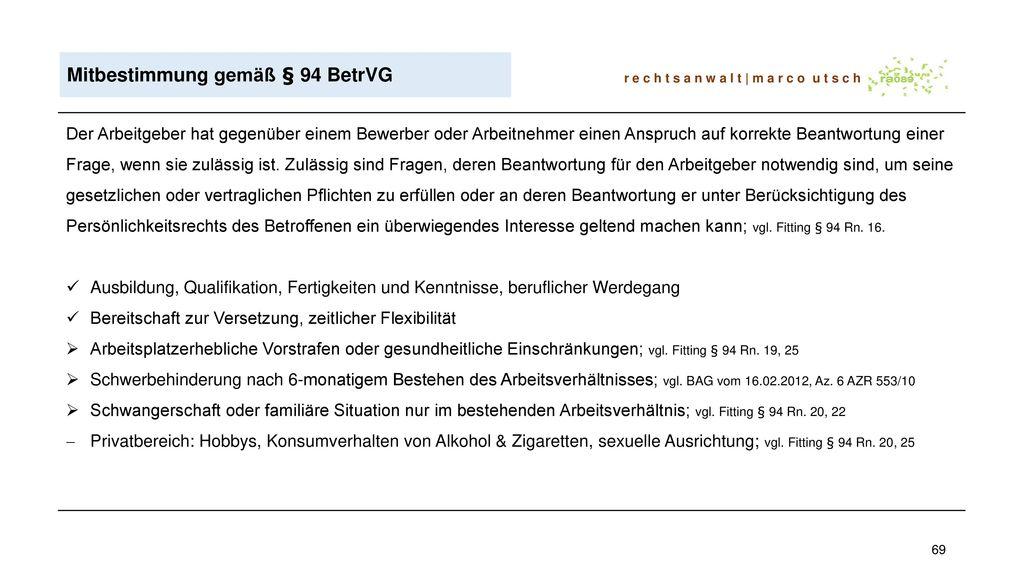 Mitbestimmung gemäß § 94 BetrVG