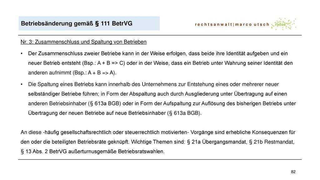Betriebsänderung gemäß § 111 BetrVG