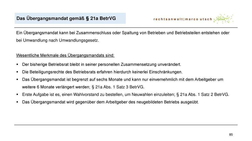 Das Übergangsmandat gemäß § 21a BetrVG
