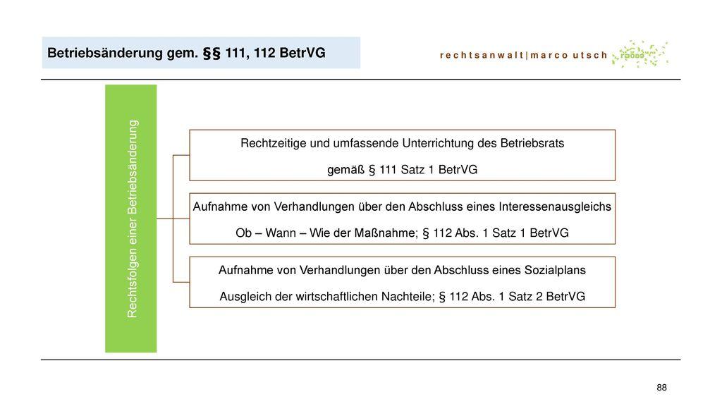 Betriebsänderung gem. §§ 111, 112 BetrVG