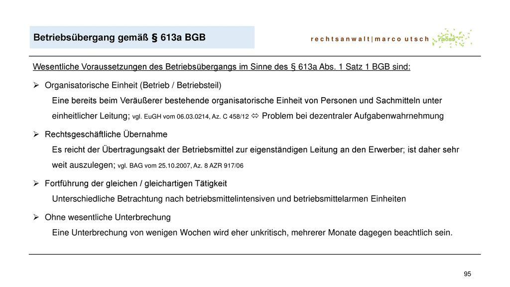 Betriebsübergang gemäß § 613a BGB