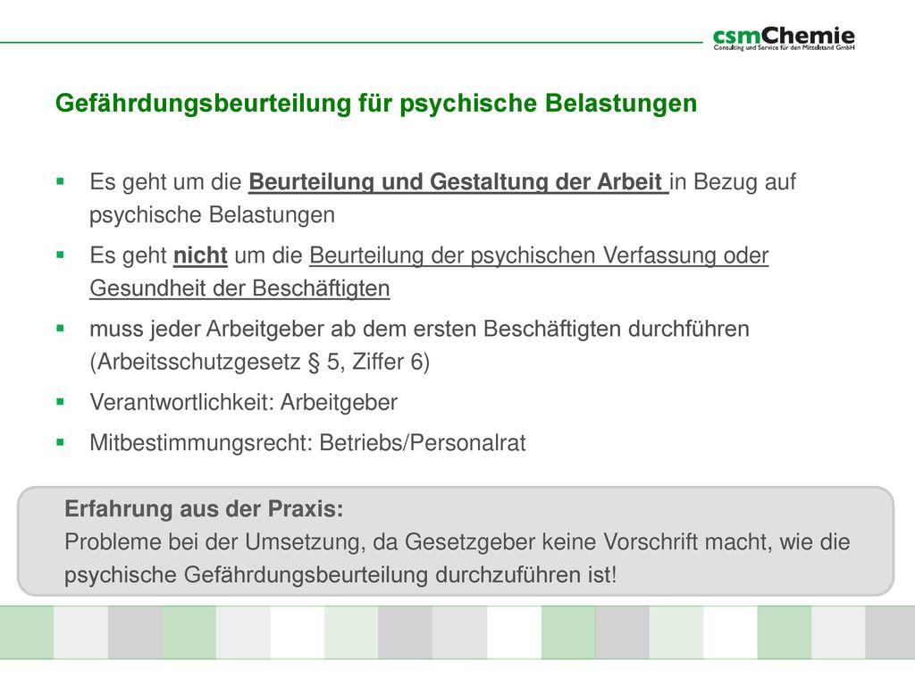 Gefährdungsbeurteilung für psychische Belastungen