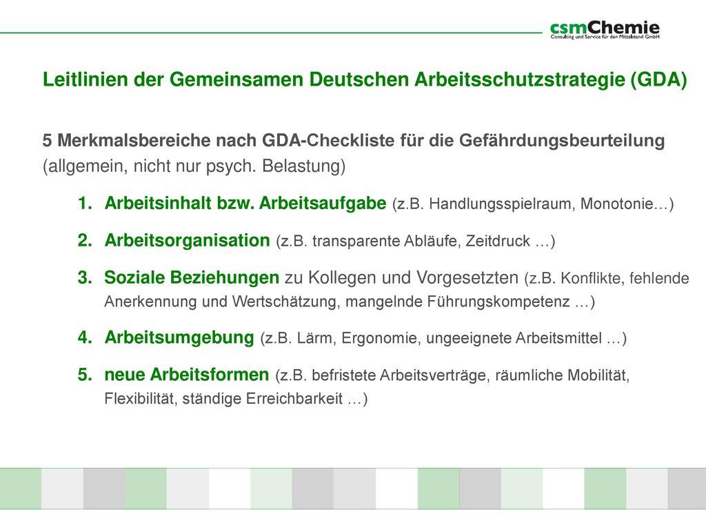 Leitlinien der Gemeinsamen Deutschen Arbeitsschutzstrategie (GDA)