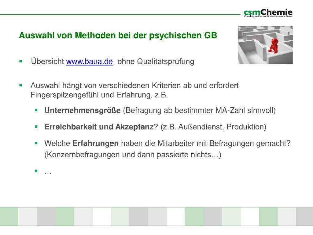 Auswahl von Methoden bei der psychischen GB