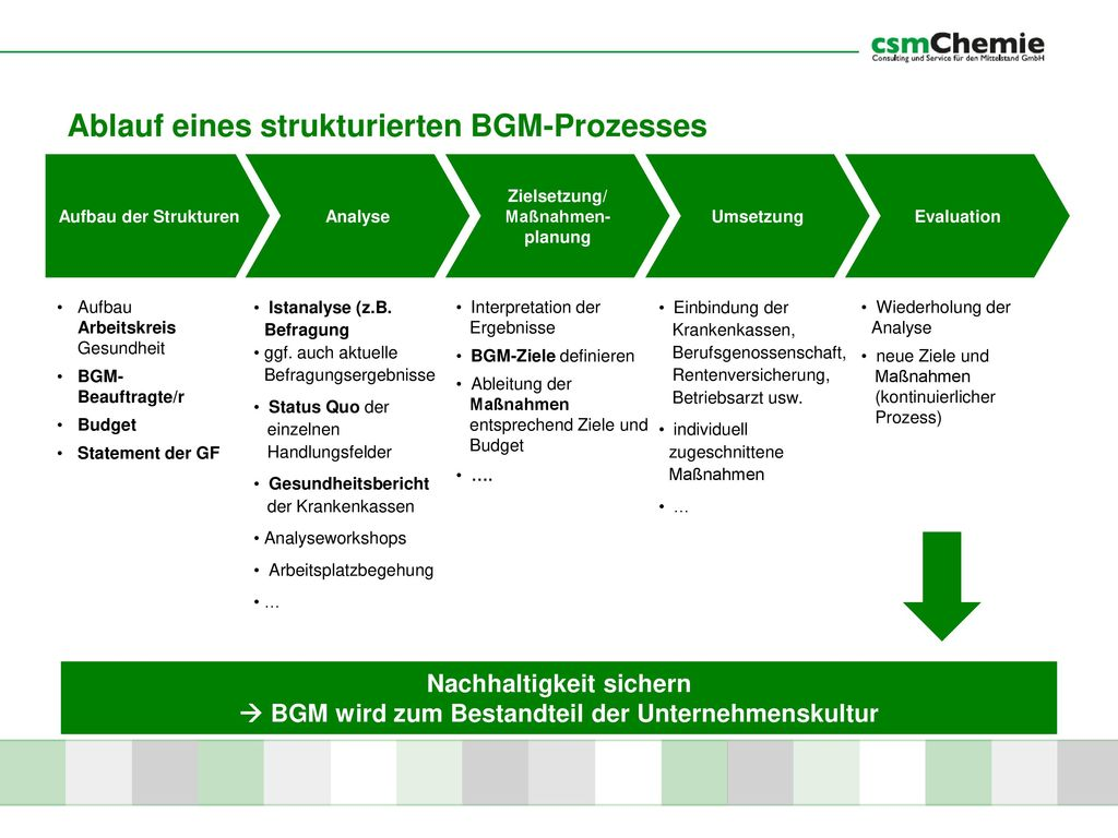 Ablauf eines strukturierten BGM-Prozesses
