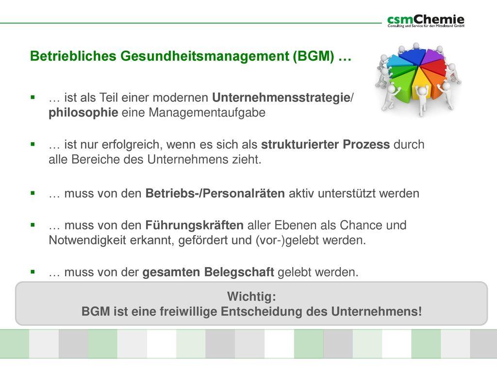 Betriebliches Gesundheitsmanagement (BGM) …