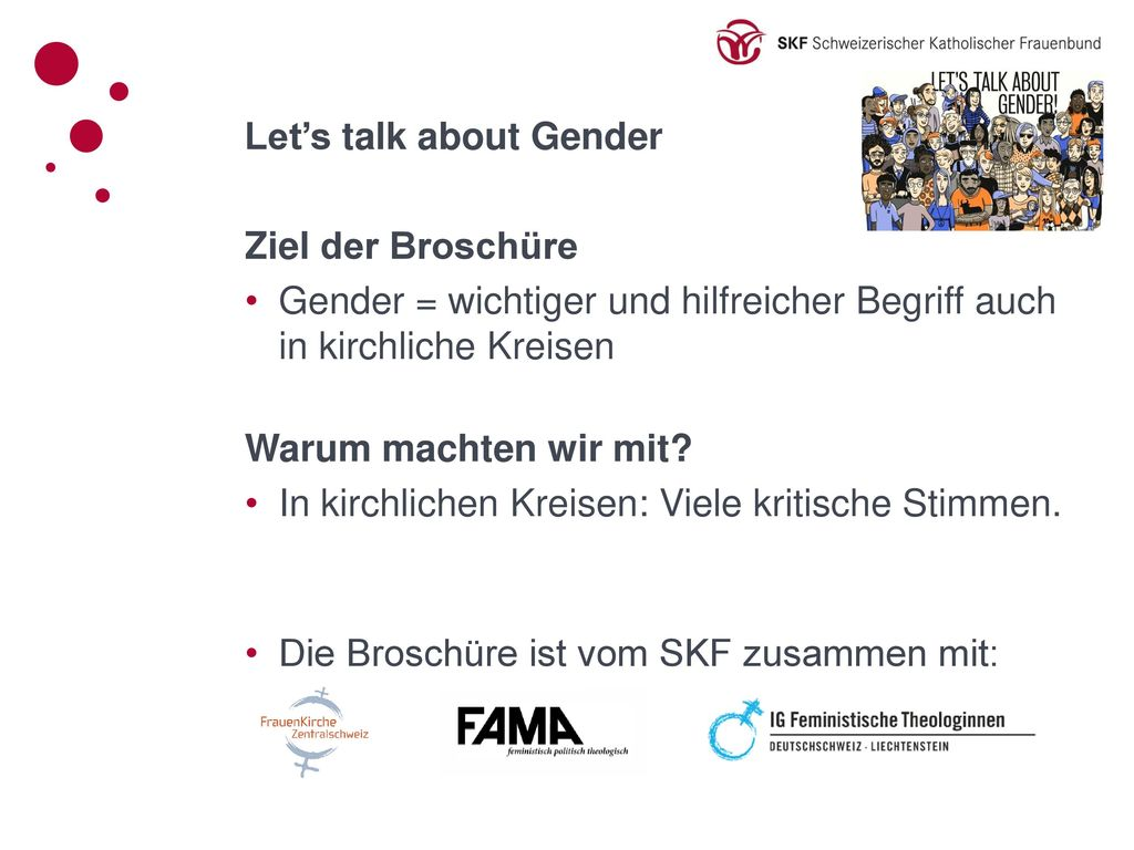 Let's talk about Gender Ziel der Broschüre