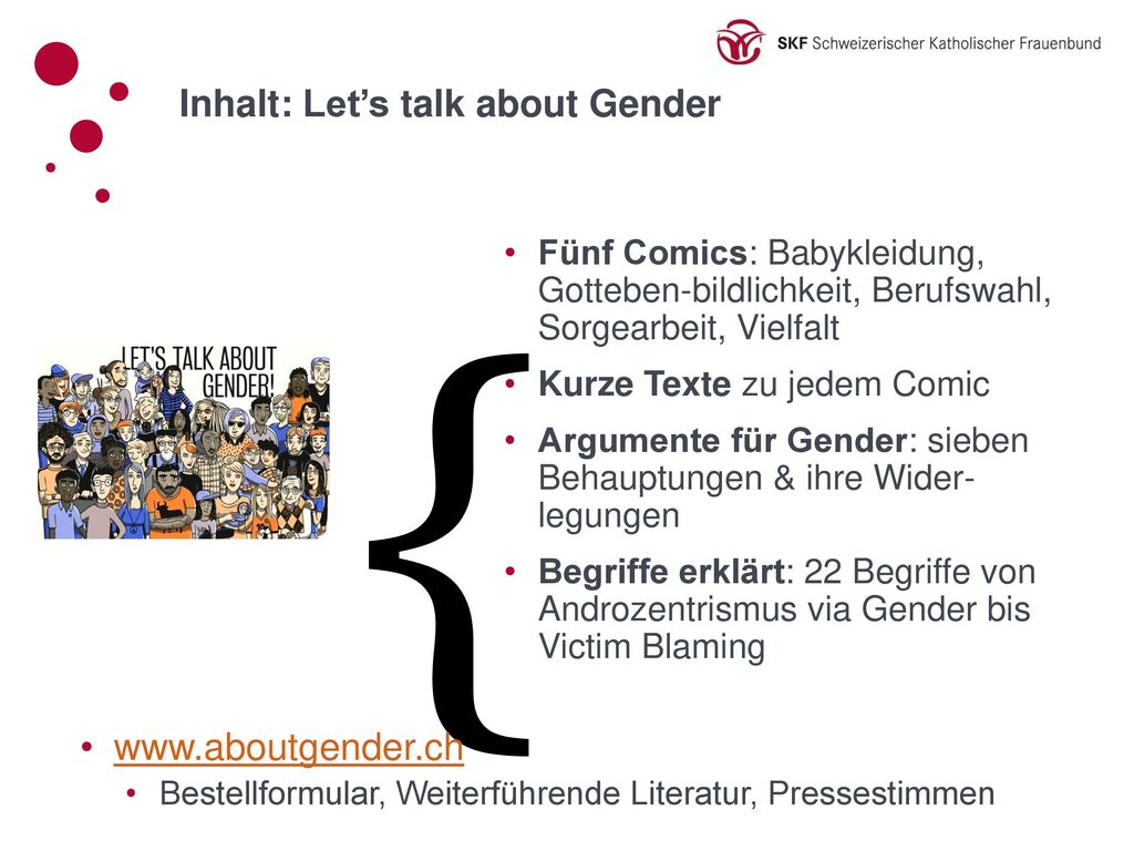 { Inhalt: Let's talk about Gender