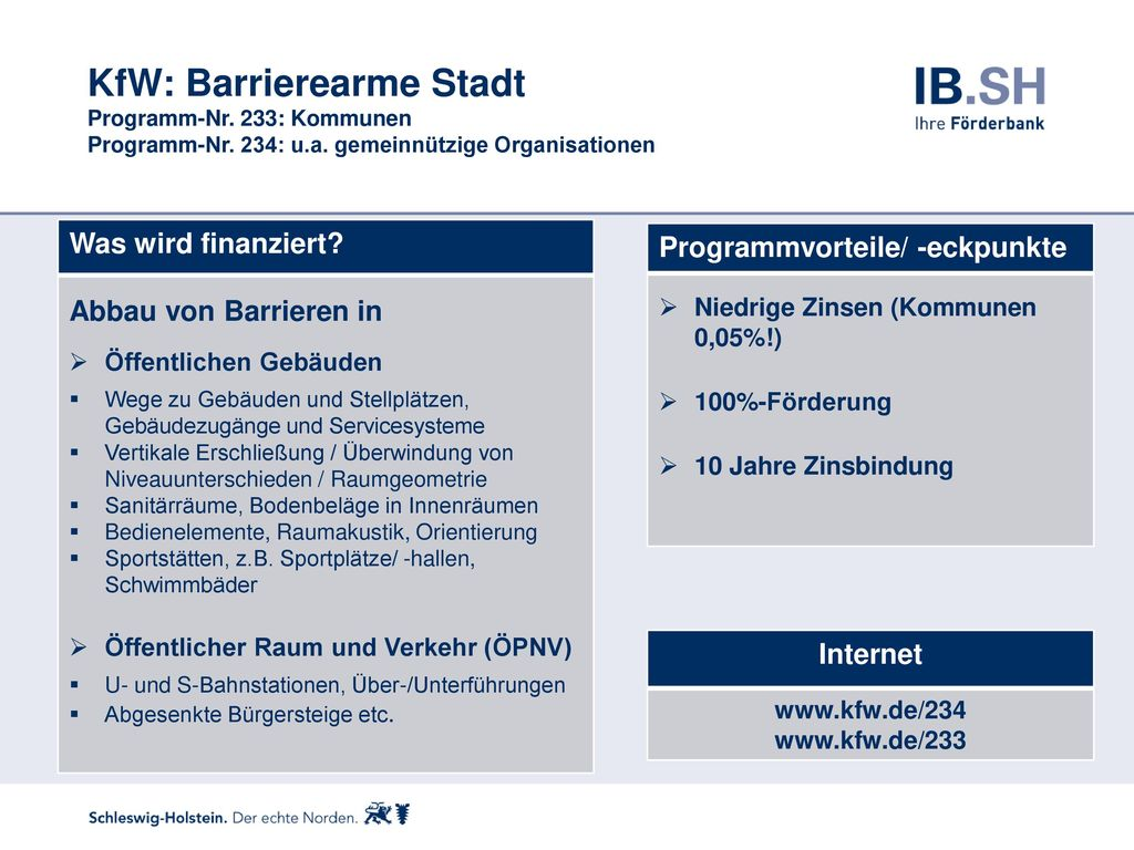 KfW: Barrierearme Stadt Programm-Nr. 233: Kommunen Programm-Nr. 234: u