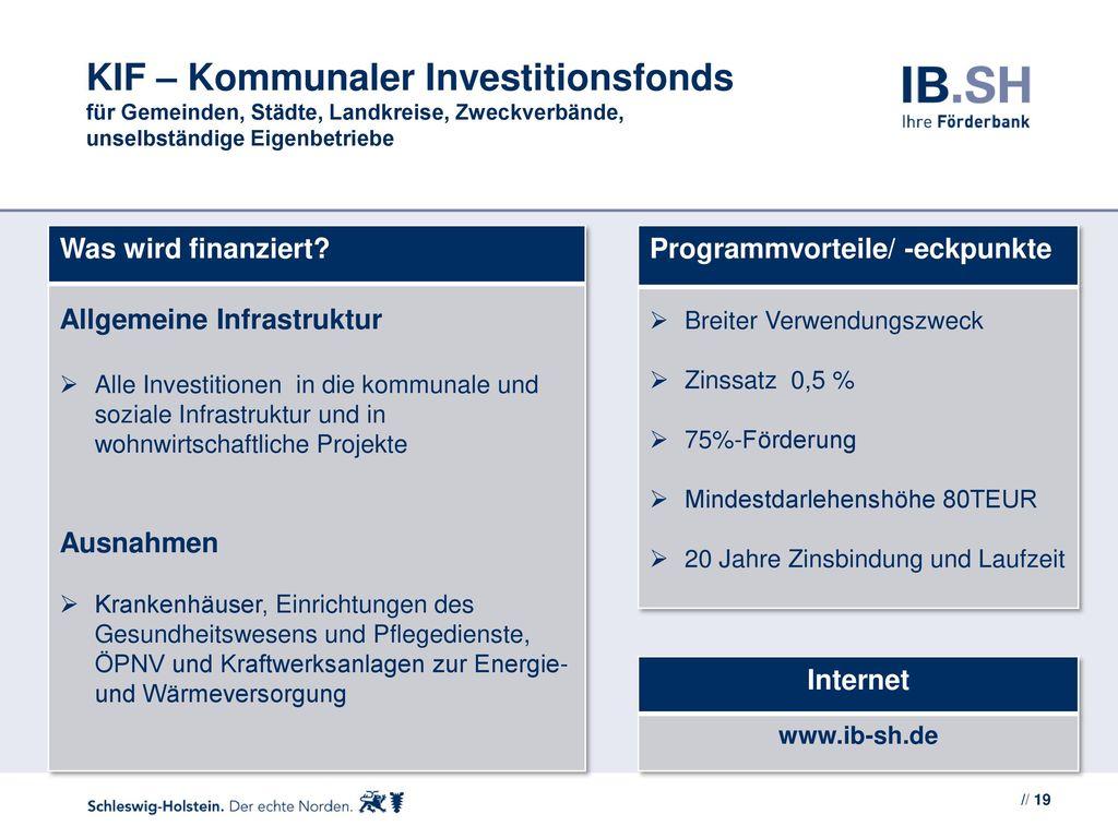 KIF – Kommunaler Investitionsfonds für Gemeinden, Städte, Landkreise, Zweckverbände, unselbständige Eigenbetriebe