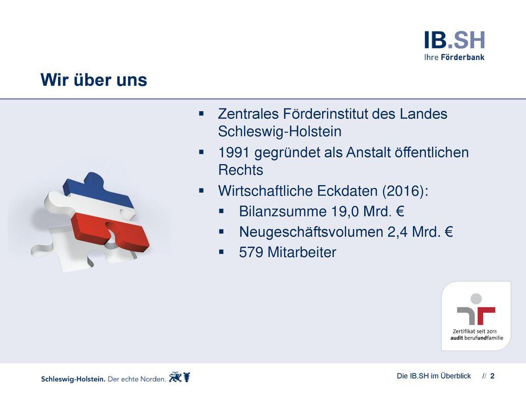 Wir über uns Zentrales Förderinstitut des Landes Schleswig-Holstein