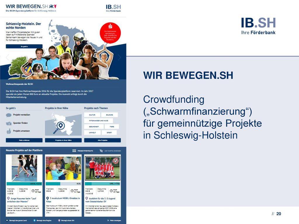 """WIR BEWEGEN.SH Crowdfunding (""""Schwarmfinanzierung ) für gemeinnützige Projekte in Schleswig-Holstein"""