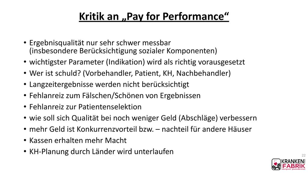 "Kritik an ""Pay for Performance"