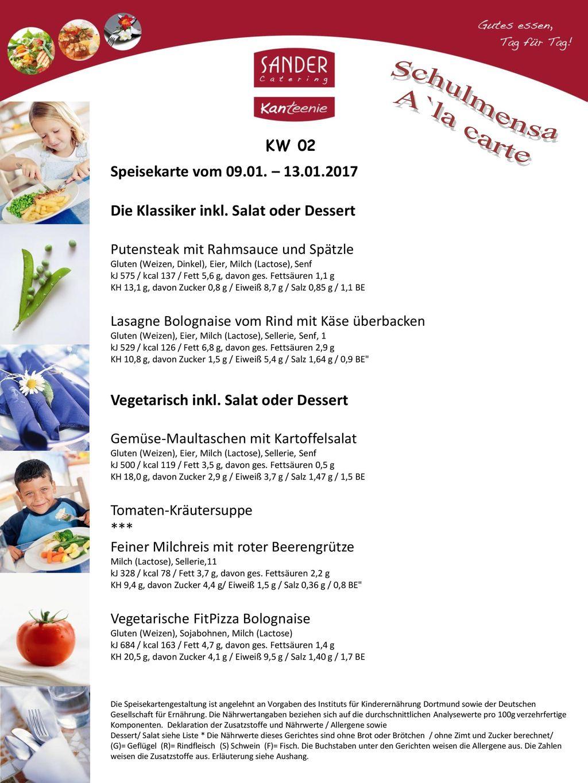 Schulmensa A`la carte Speisekarte vom 09.01. – 13.01.2017