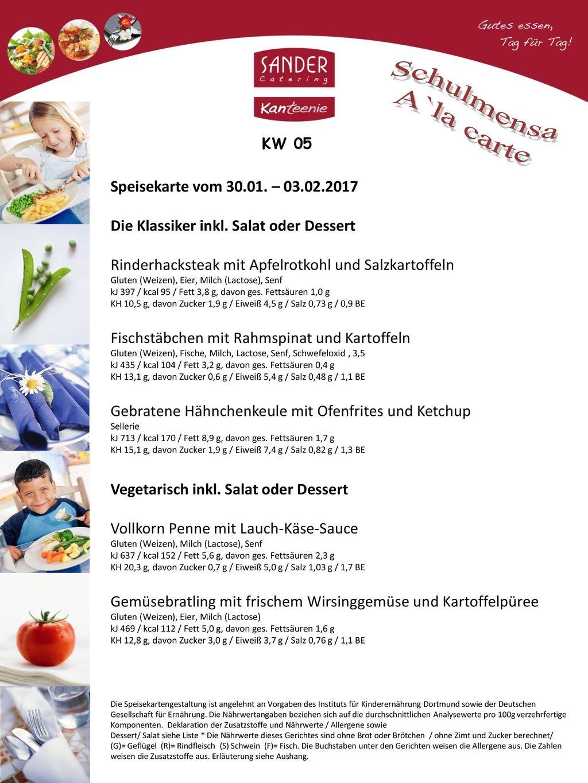 Schulmensa A`la carte Speisekarte vom 30.01. – 03.02.2017