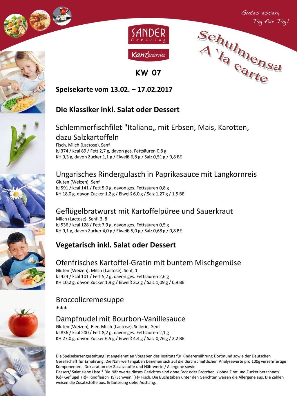 Schulmensa A`la carte Die Klassiker inkl. Salat oder Dessert