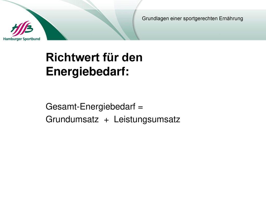 Richtwert für den Energiebedarf: