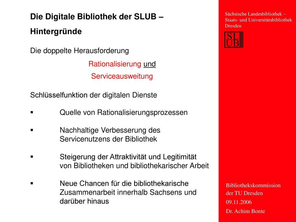 Die Digitale Bibliothek der SLUB – Hintergründe