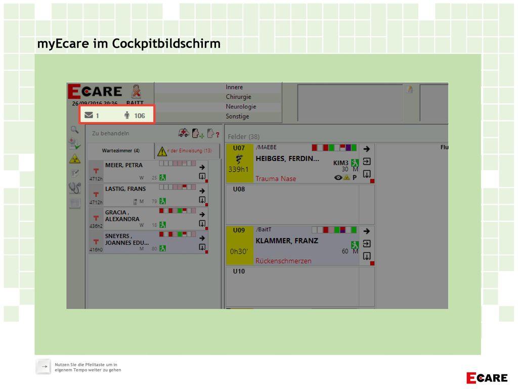 myEcare im Cockpitbildschirm