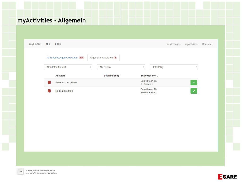 myActivities - Allgemein