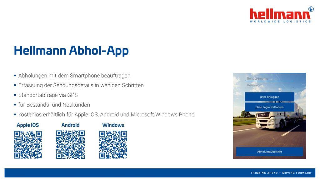 Hellmann Abhol-App Abholungen mit dem Smartphone beauftragen