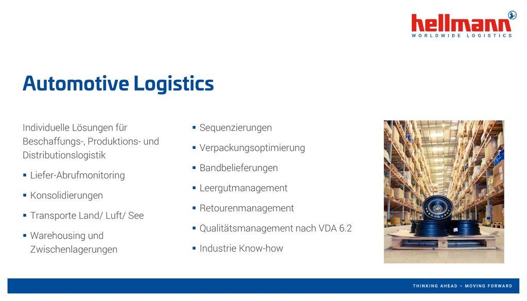 Automotive Logistics Individuelle Lösungen für Beschaffungs-, Produktions- und Distributionslogistik.