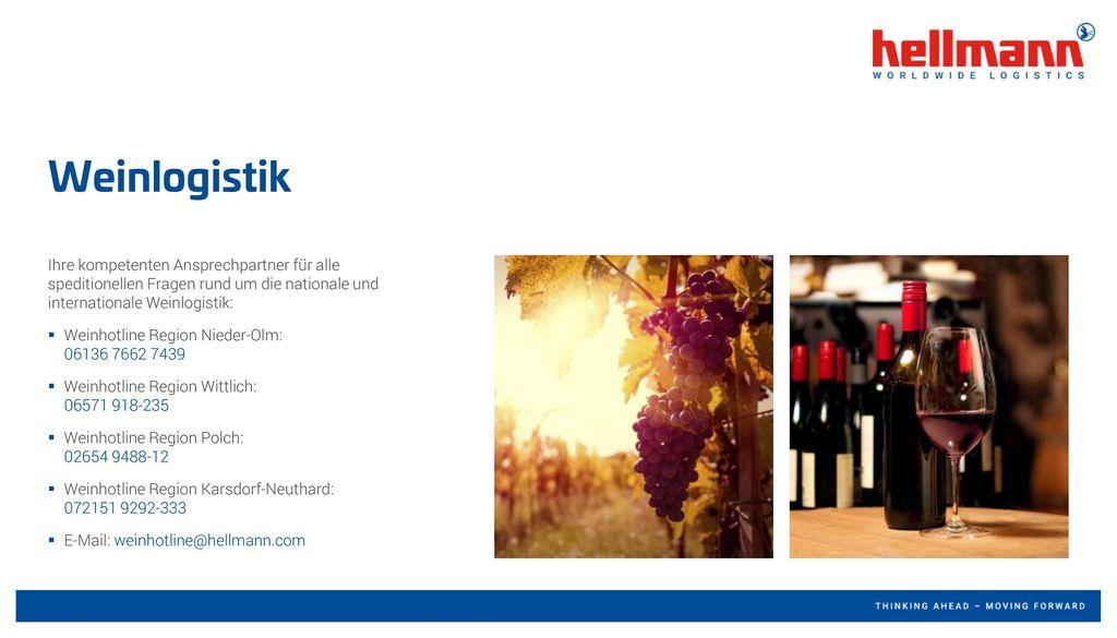 Weinlogistik Ihre kompetenten Ansprechpartner für alle speditionellen Fragen rund um die nationale und internationale Weinlogistik: