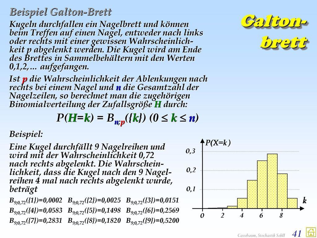 Beispiel Galton-Brett