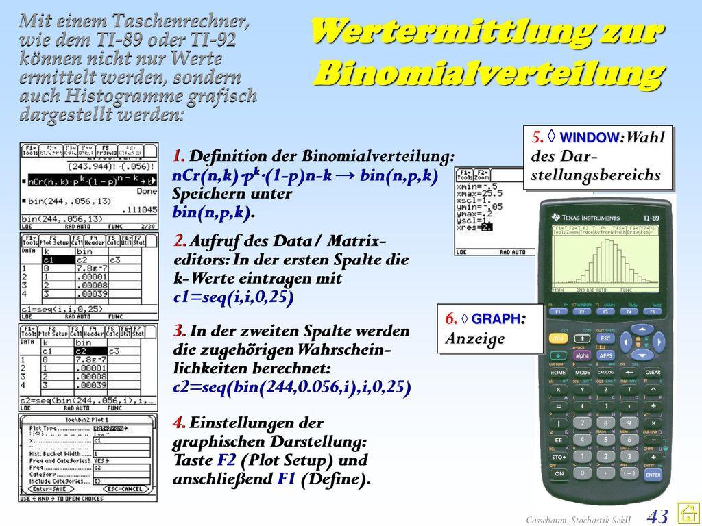 Wertermittlung zur Binomialverteilung