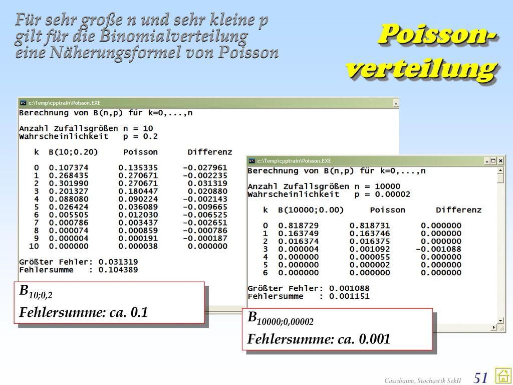 Für sehr große n und sehr kleine p gilt für die Binomialverteilung eine Näherungsformel von Poisson