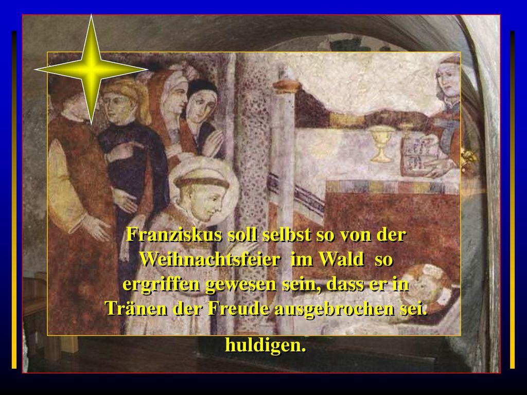 Es war die einfache und arme Landbevölkerung, die mit bescheidenen Geschenken, wohl auch mit ihren Tieren, kam, um in der Grotte dem Gotteskind zu huldigen.