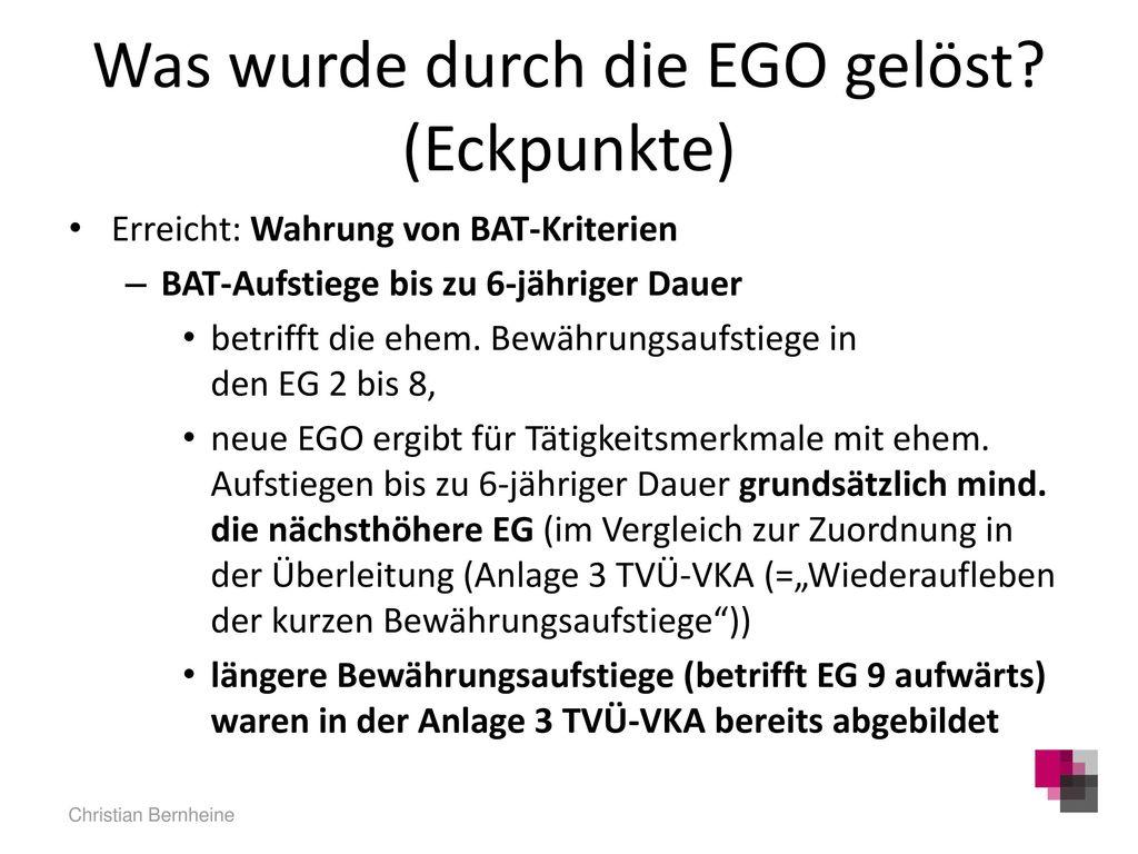 Was wurde durch die EGO gelöst (Eckpunkte)