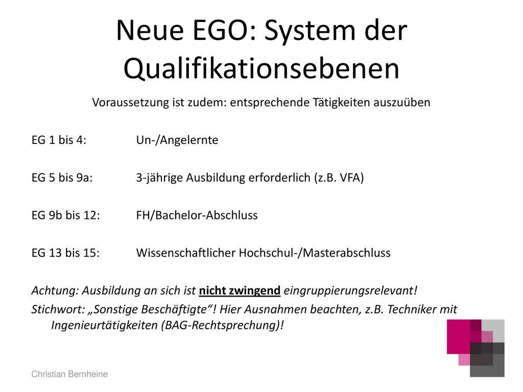 Neue EGO: System der Qualifikationsebenen