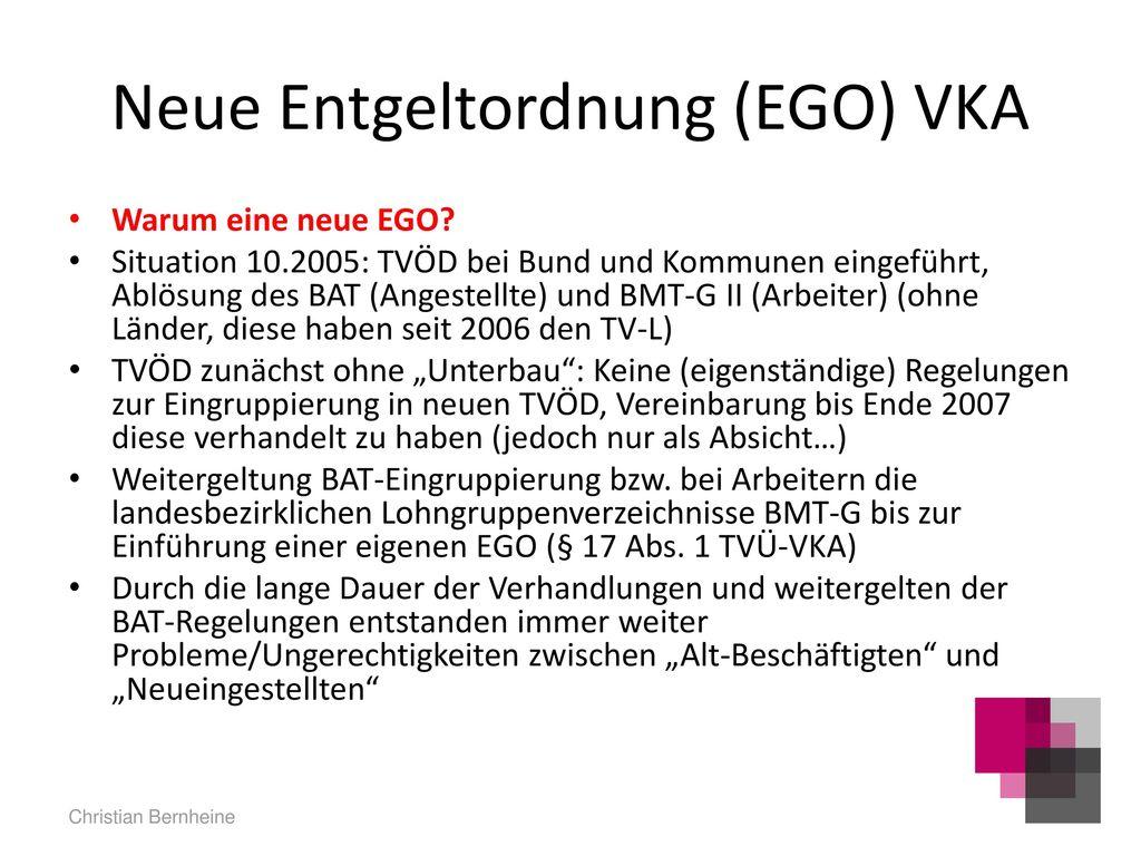 Neue Entgeltordnung (EGO) VKA