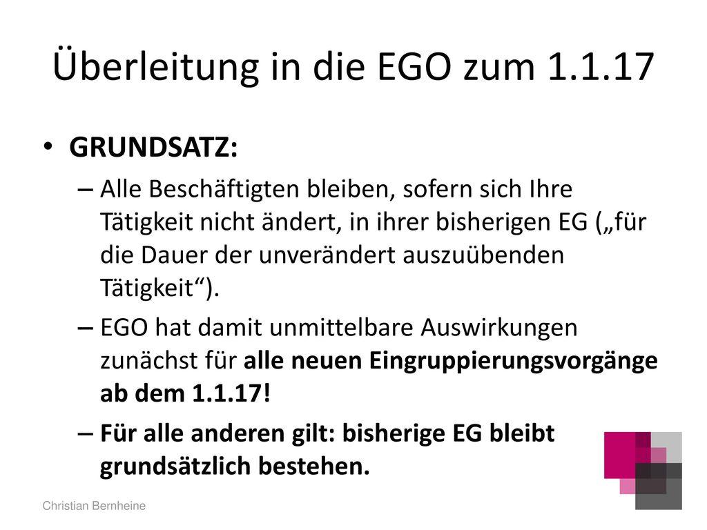 Überleitung in die EGO zum 1.1.17