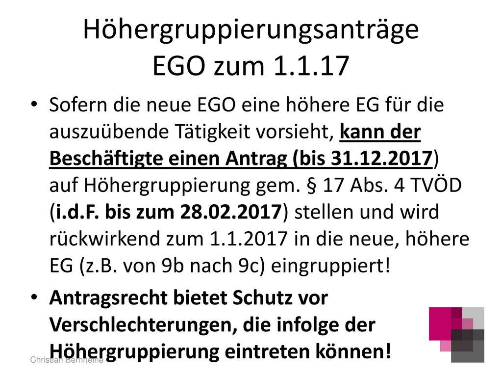 Höhergruppierungsanträge EGO zum 1.1.17