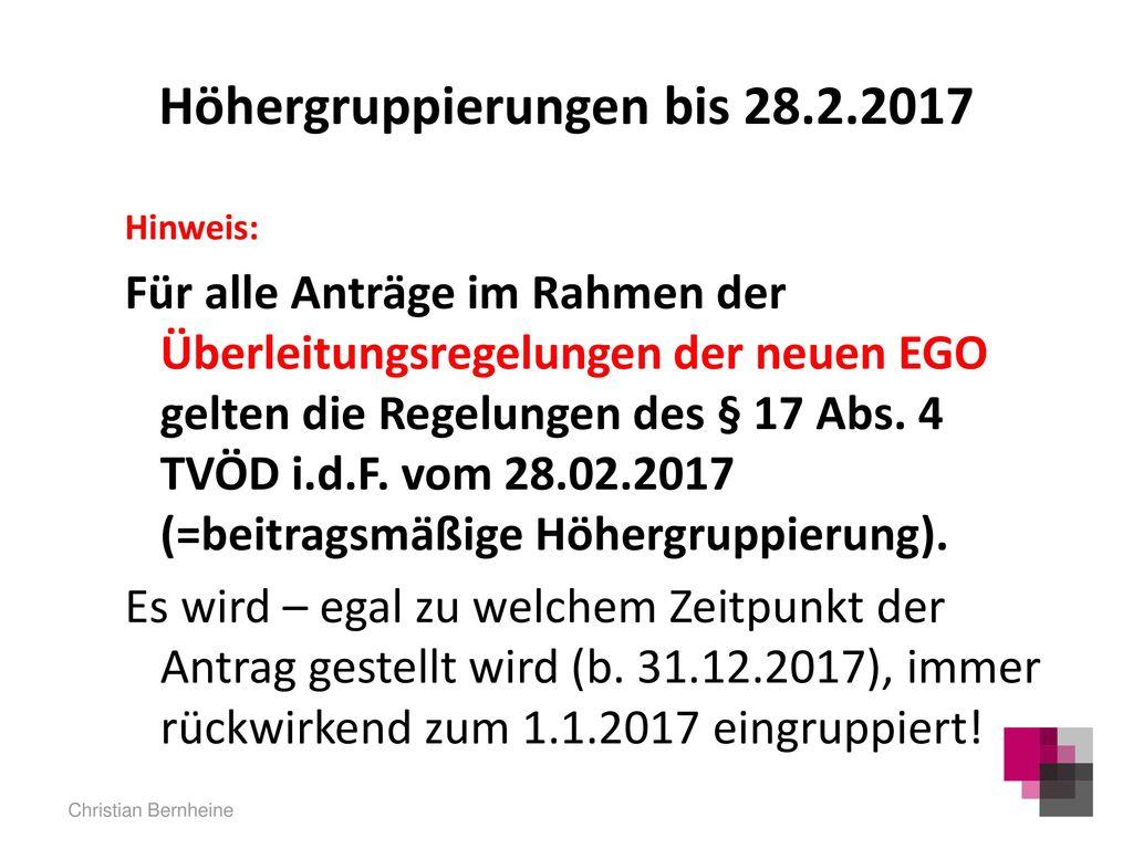 Höhergruppierungen bis 28.2.2017