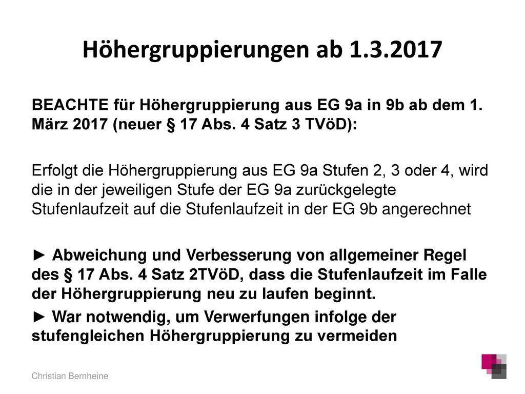 Höhergruppierungen ab 1.3.2017