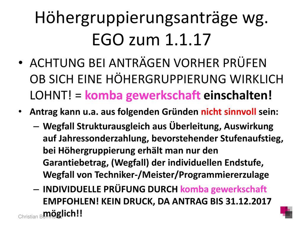 Höhergruppierungsanträge wg. EGO zum 1.1.17