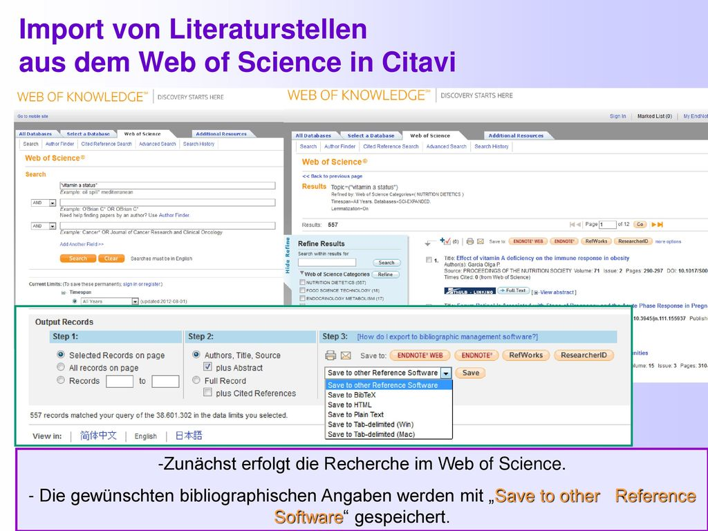 Import von Literaturstellen aus dem Web of Science in Citavi