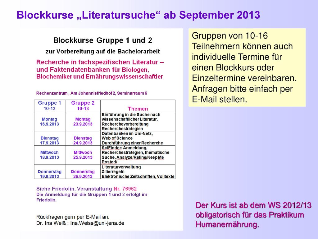 "Blockkurse ""Literatursuche ab September 2013"