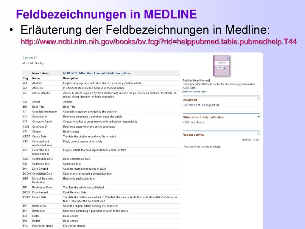 Feldbezeichnungen in MEDLINE