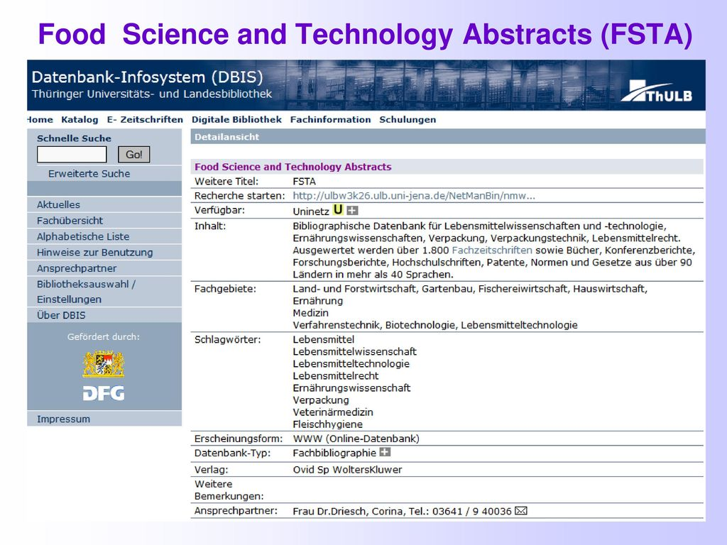Food Science and Technology Abstracts (FSTA)
