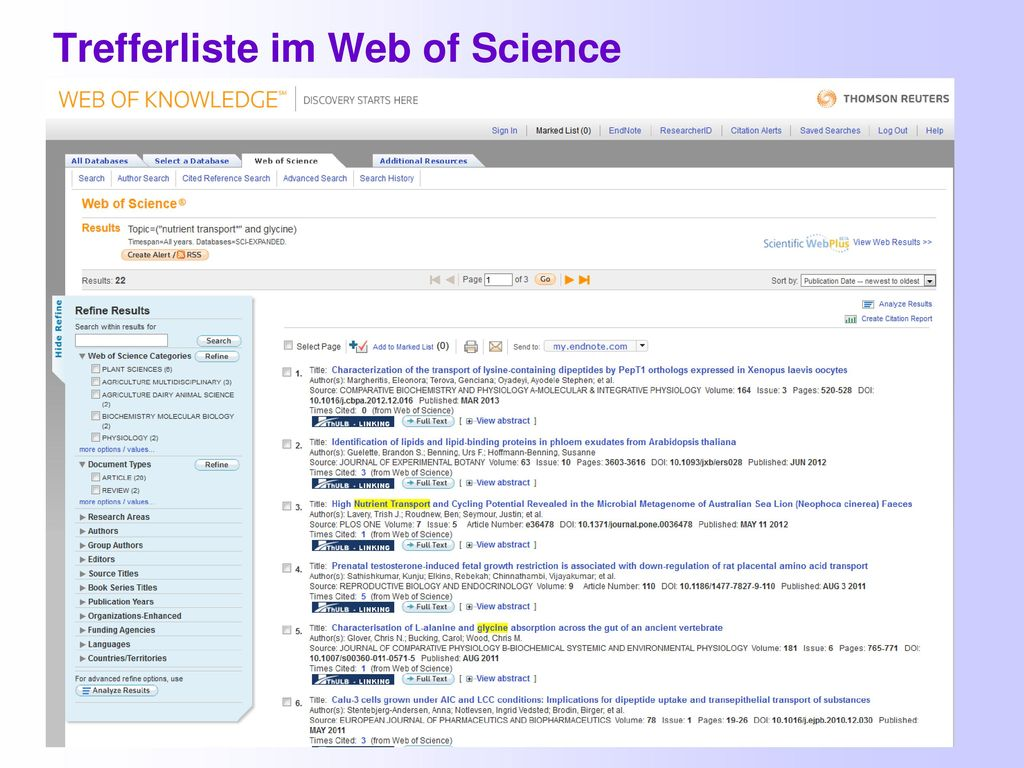 Trefferliste im Web of Science