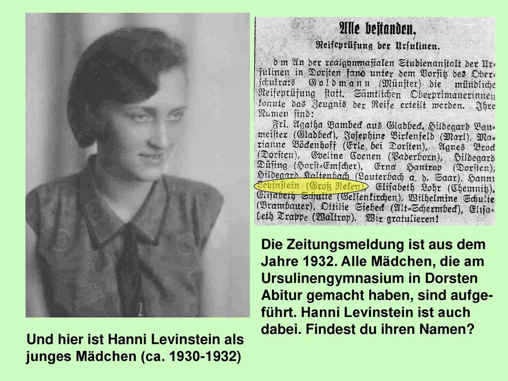 Und hier ist Hanni Levinstein als junges Mädchen (ca. 1930-1932)