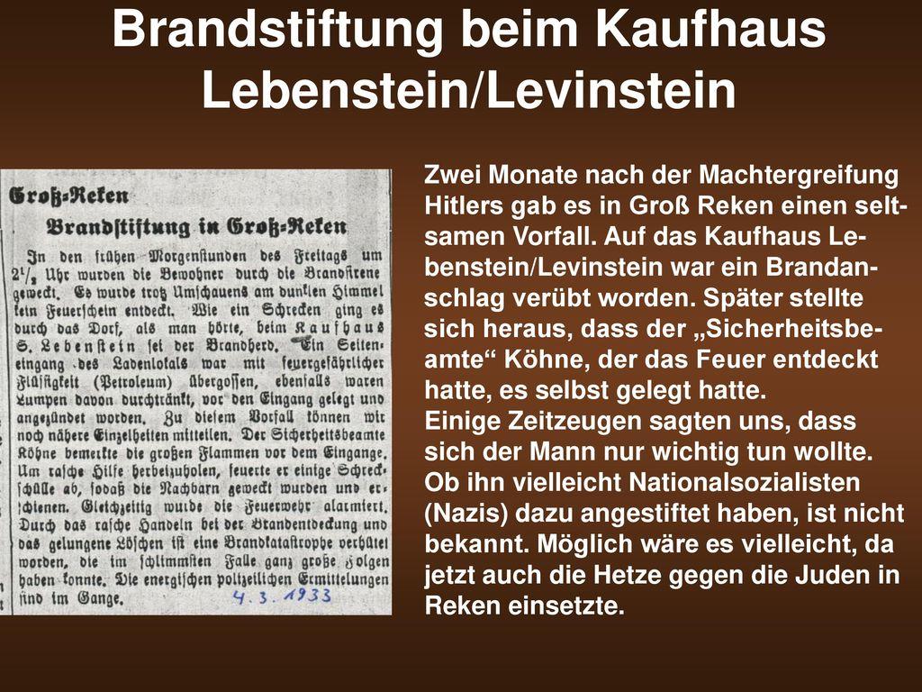 Brandstiftung beim Kaufhaus Lebenstein/Levinstein