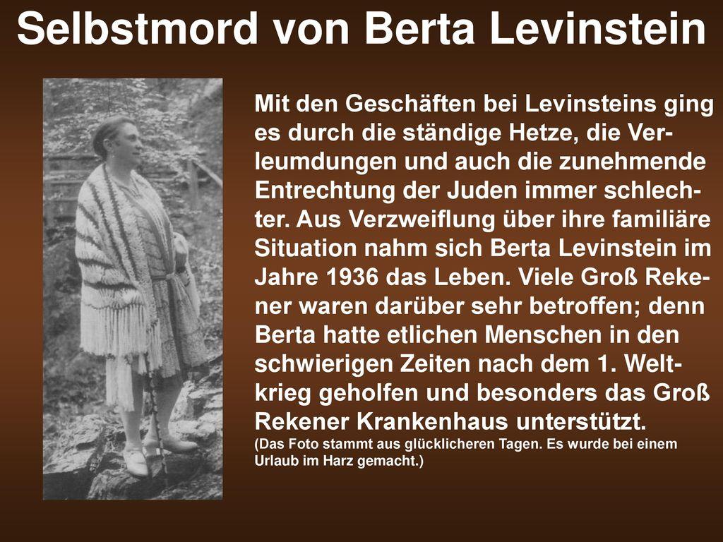 Selbstmord von Berta Levinstein