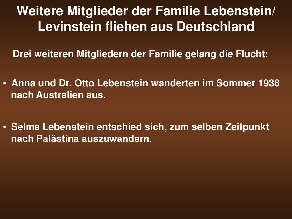 Weitere Mitglieder der Familie Lebenstein/ Levinstein fliehen aus Deutschland