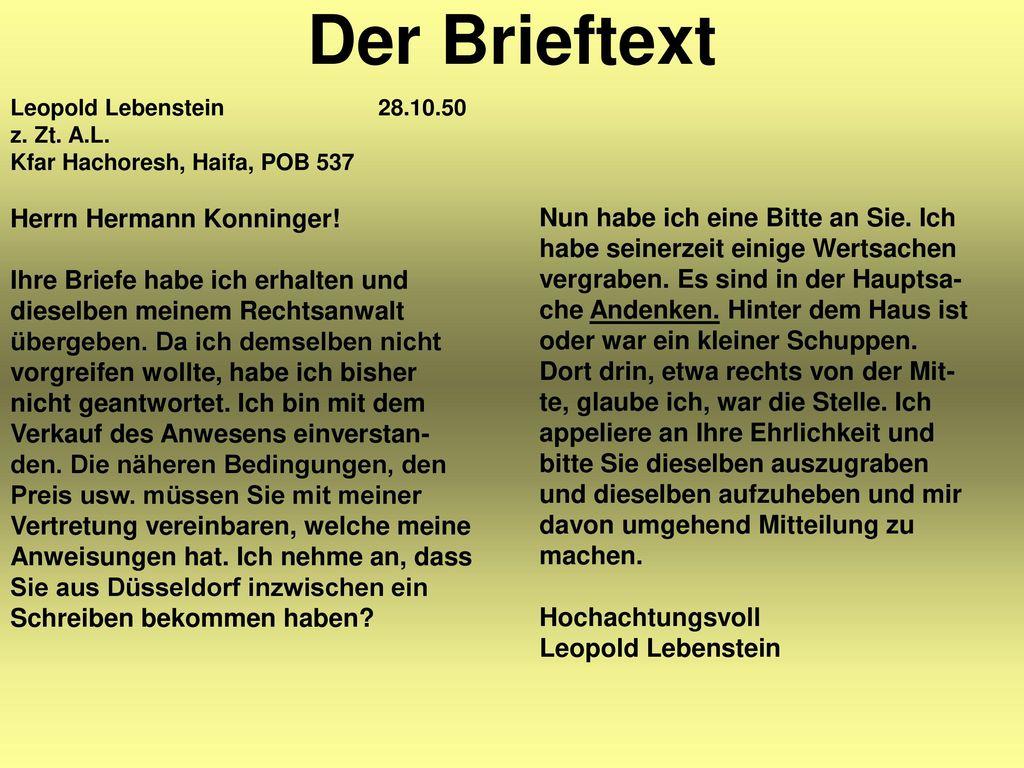 Der Brieftext Herrn Hermann Konninger!